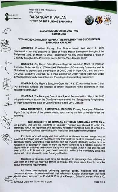 Enhanced Community Quarantine Implementing Guidelines in Barangay Kiwalan
