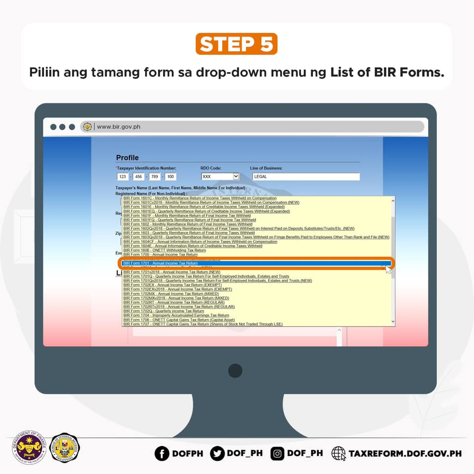 HOW TO FILE TAX RETURNS USING E-BIR FORMS?