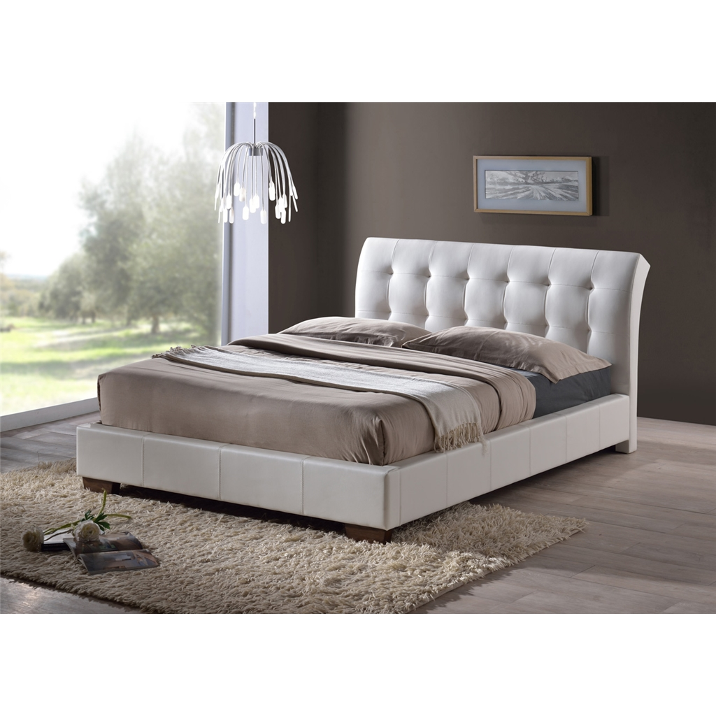 White Modern Design Faux Leather Bed Frame
