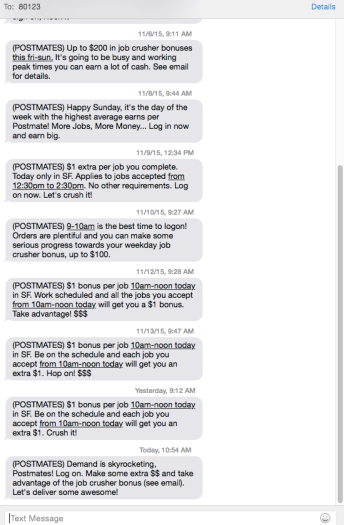 Postmates text messages