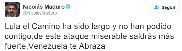 """Maduro defende o """"irmão"""" de socialismo, Lula"""