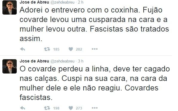 José de Abreu se vangloria do fato em seu Twitter