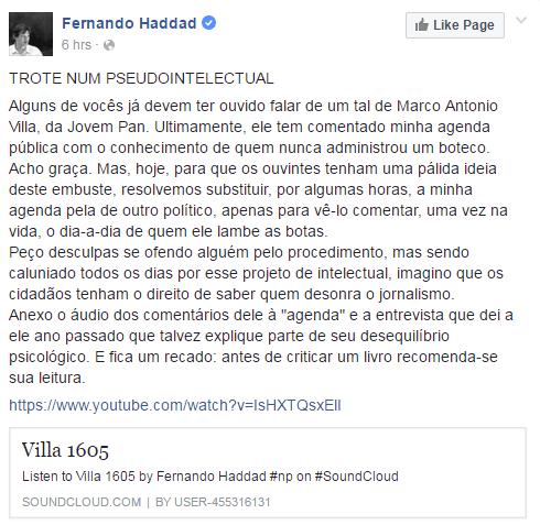 """Haddad se vangolia de ter fraudado agenda oficial da prefeitura para """"passar trote"""""""