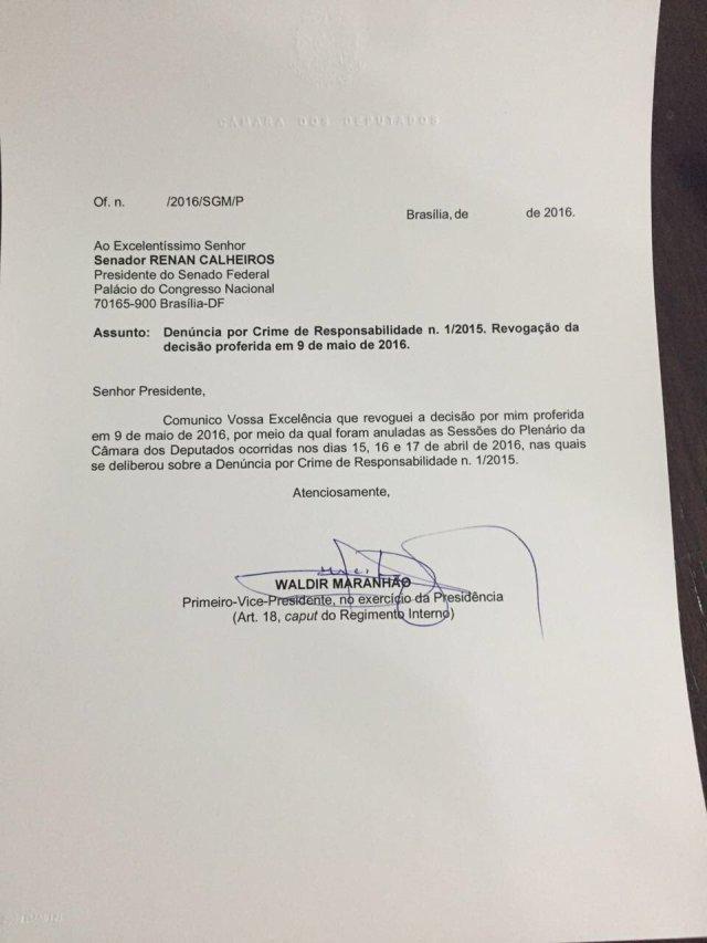 Waldir Maranhão revoga cancelamento do impeachment
