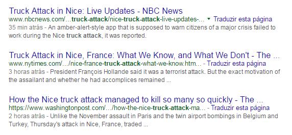"""Na mídia internacional não foi diferente: o """"truck attack"""" foi a manchete"""