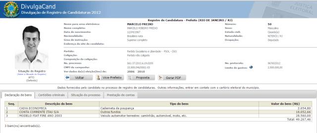 Declaração de bens de Marcelo Freixo em 2012. Fonte: TSE