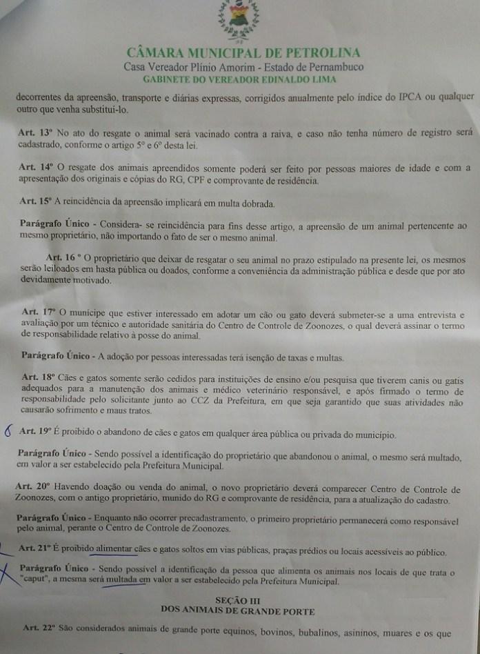 Trecho do PL 070/06 que estabelece a proibição de alimentar animais de rua e multa para quem o fizer