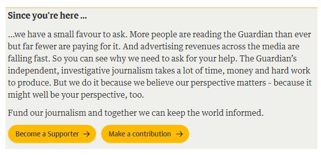 """Nota no site do The Guardian pede para visitantes apoiarem o """"jornalismo independente e investigativo"""""""