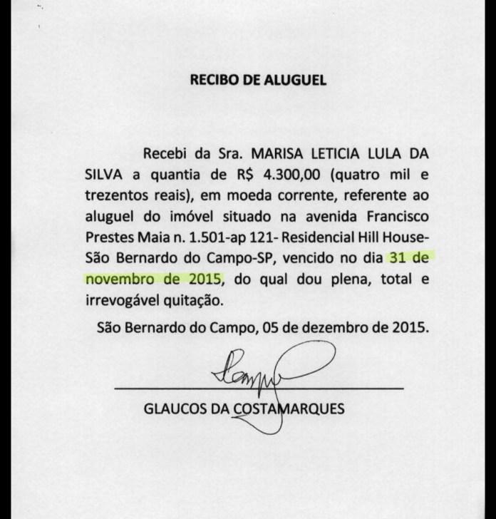 Recibos apresentados pela defesa de Lula possuem datas de vencimento do suposto aluguel que não existem