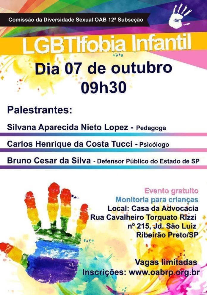 """Cartaz do evento sobre """"LGBTIfobia Infantil"""" na Ordem dos Advogados do Brasil"""