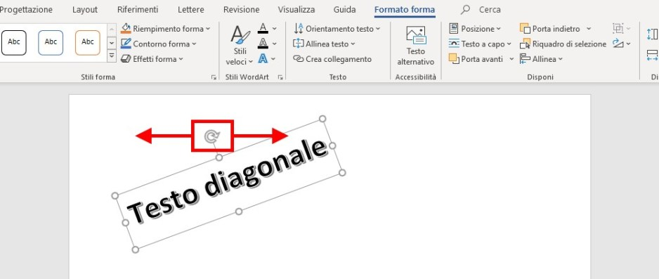 Testo diagonale in word rotazione Wordart