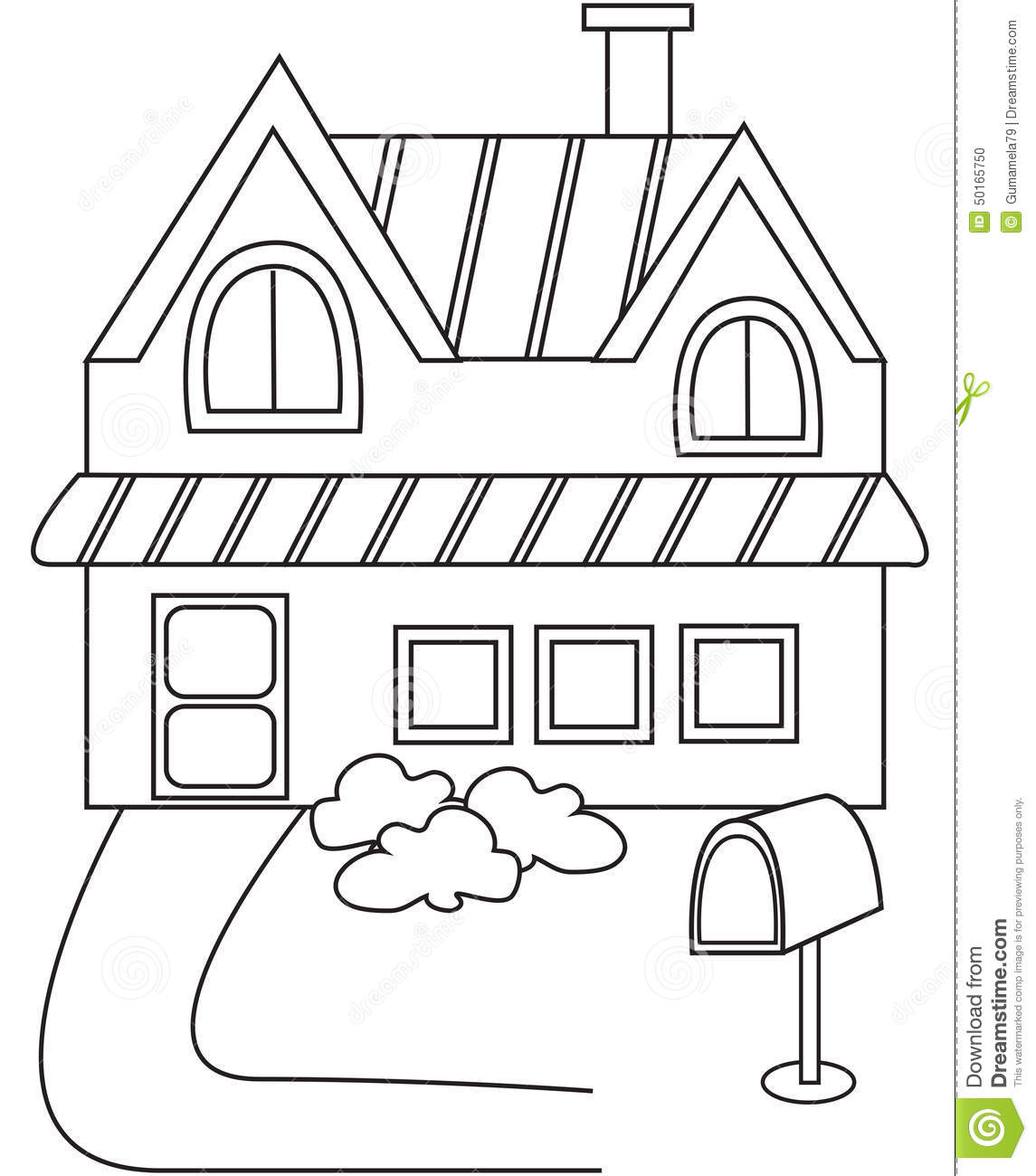 House Roof Colouring Pages Sketch Coloring Page