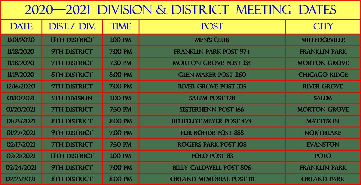 DISTRICT DIVISION MEETINGS