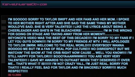 Kanye West – Apologizes To Taylor Swift