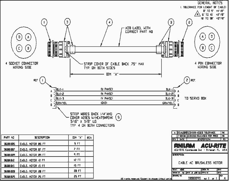 36001007 AC Brushless motor power harness DWG