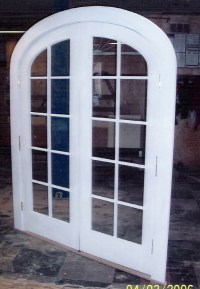 Custom Built Wood French Doors; interior; exterior ; arch top