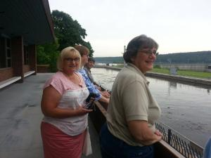 """June 2015 when Sue McCrum, AAW president,  came through Illinois on her """"Drive Across America"""" tour.  In the picture Left to right is Susan Wall, Linda Swiercinsky, Sue McCrum (most distant in picture), and Shirley Bartelt.  We are looking at the Starved Rock Lock and Dam."""