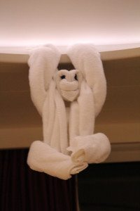 The staff on the Norwegian Epic goes out of its way to create daily animal figures out of towels for the children