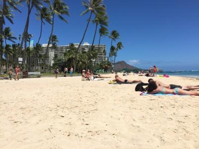 Waikiki Beach facing northwest to Diamond Head