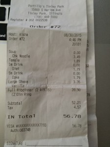My receipt from Portillos, $56.78 worth of hassle and wasted time