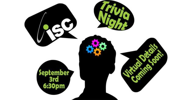 head with thought bubbles including ISC and trivia night