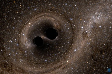 Two Black Holes Colliding gravitational waves