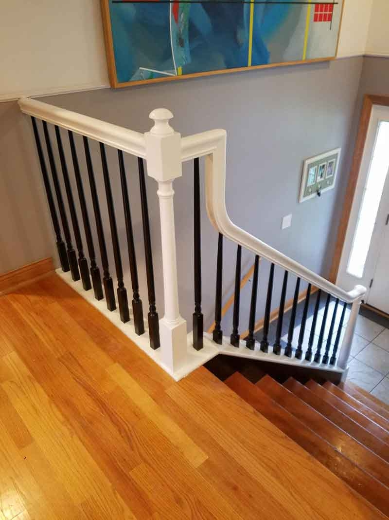 Stairway Rails Spindles Baluster Sanding And Painting Drywall   Stair Rails And Spindles   Dark   Restaining   Modern   Spiral   Glass