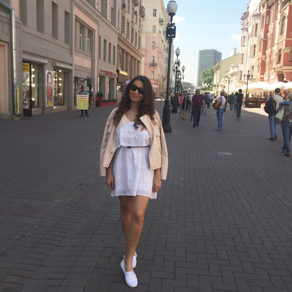 Walking along Old Arbat Street