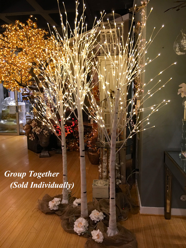 Illuminated Garden 8 Foot White Birch Tree 240 Warm
