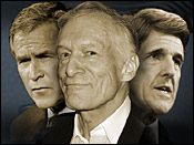 Hugh Heffner, George W. Bush and John Kerry