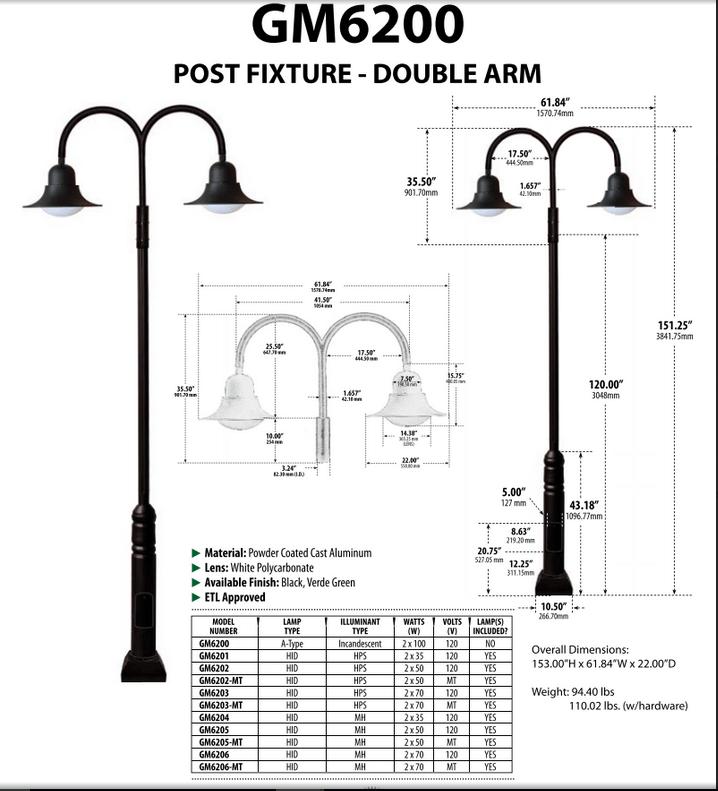 GM 6200 Powder-coated cast aluminum Pole Light / Parking