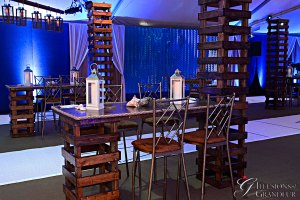 """Rustic Tables with Towers 30"""" x 72"""" x 42""""h Table 18"""" x 18"""" x 9'6h Tower"""