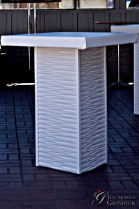 """White Ripple Cocktail Tables 32"""" x 32"""" Top x 42""""h"""