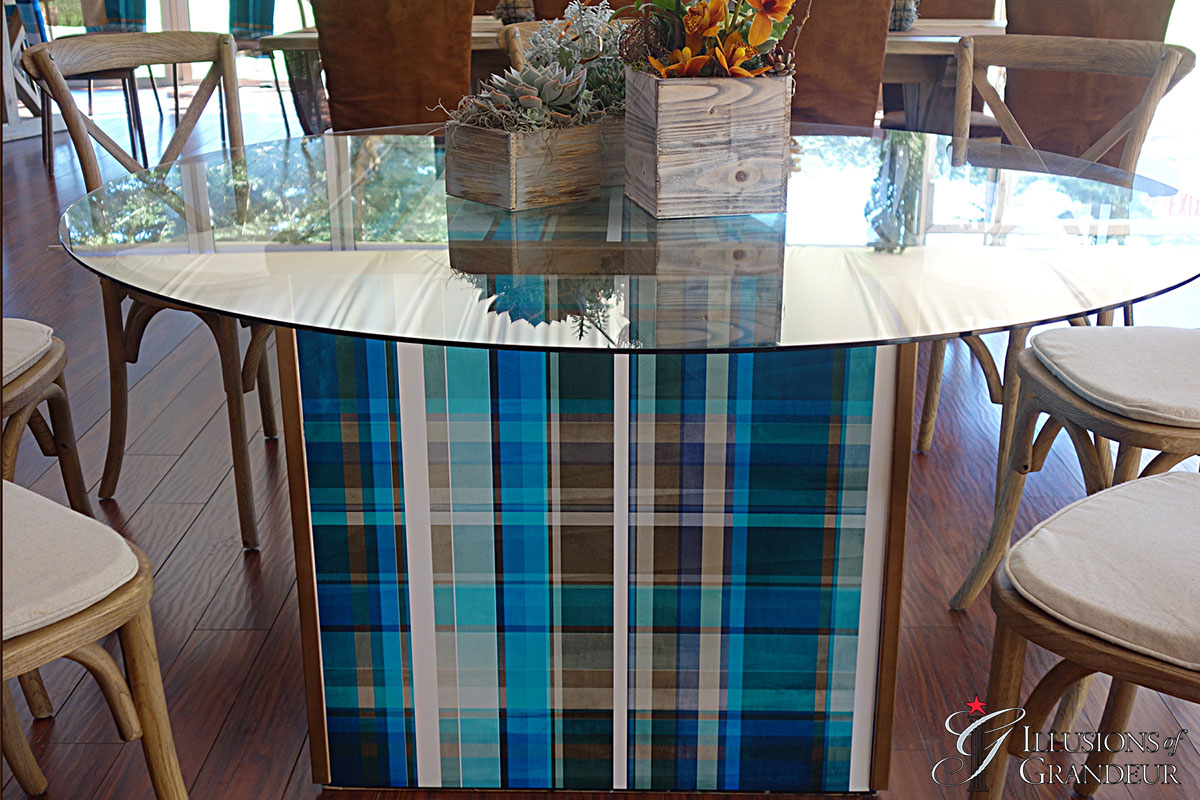 "Cube Tables / Plaid Image 60"" round Glass Tops x 30""h Different Images available"