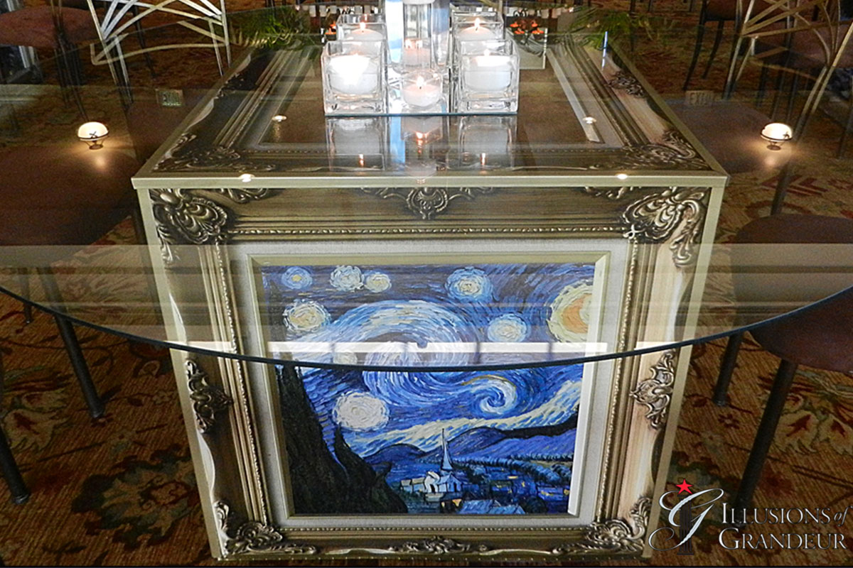 """Cube Tables / French Artists 60"""" round Glass Tops x 30""""h Different Images available"""