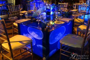 "Jellyfish Tables 58"" x 68"" Glass Tops x 30""h"