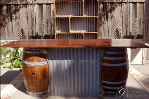 "Barrel + Corrugated Metal Bar 96"" x 30"" x 40""h"