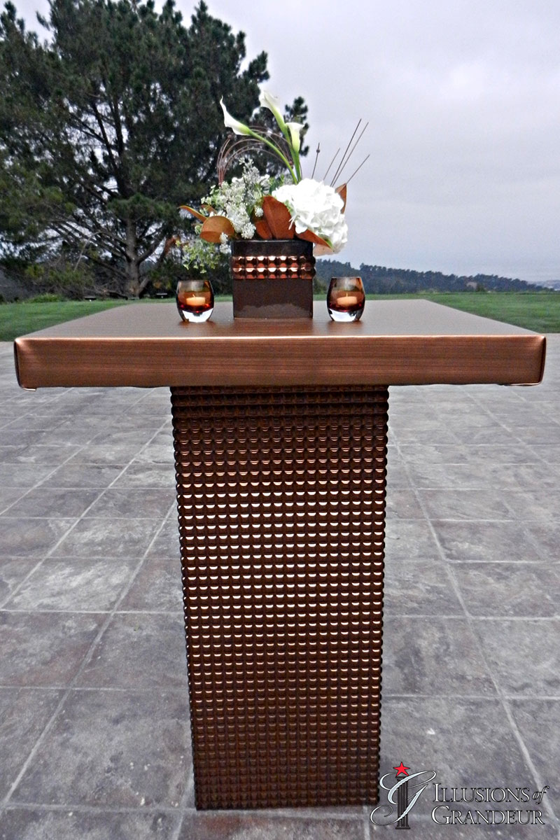 "Bronze Square Cocktail Tables 32"" x 32"" Top x 42""h"