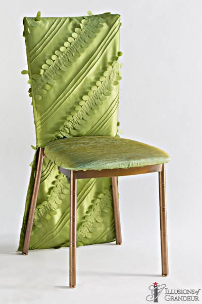 Bronze Diamond Chairs with Green Leaves Chair Back