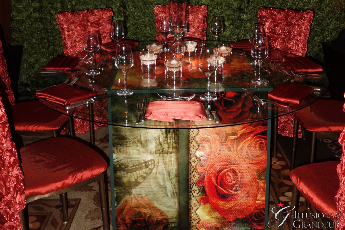 """Cube Tables / Vintage Rose Image 60"""" round Glass Tops x 30""""h Different Images available"""