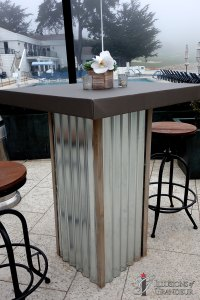 "Corrugated Metal Cocktail Tables 32""x32""x42""h"