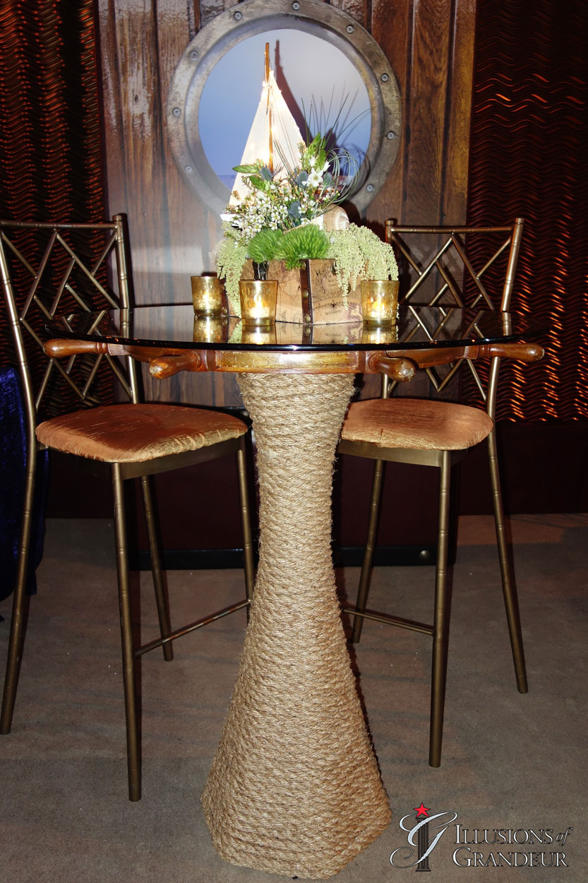 "Ship Wheel Rope Cocktail Tables 36"" round Glass x 42""h"