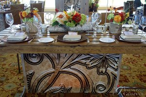 """Tooled Leather Tables 36""""x72""""x30""""h"""