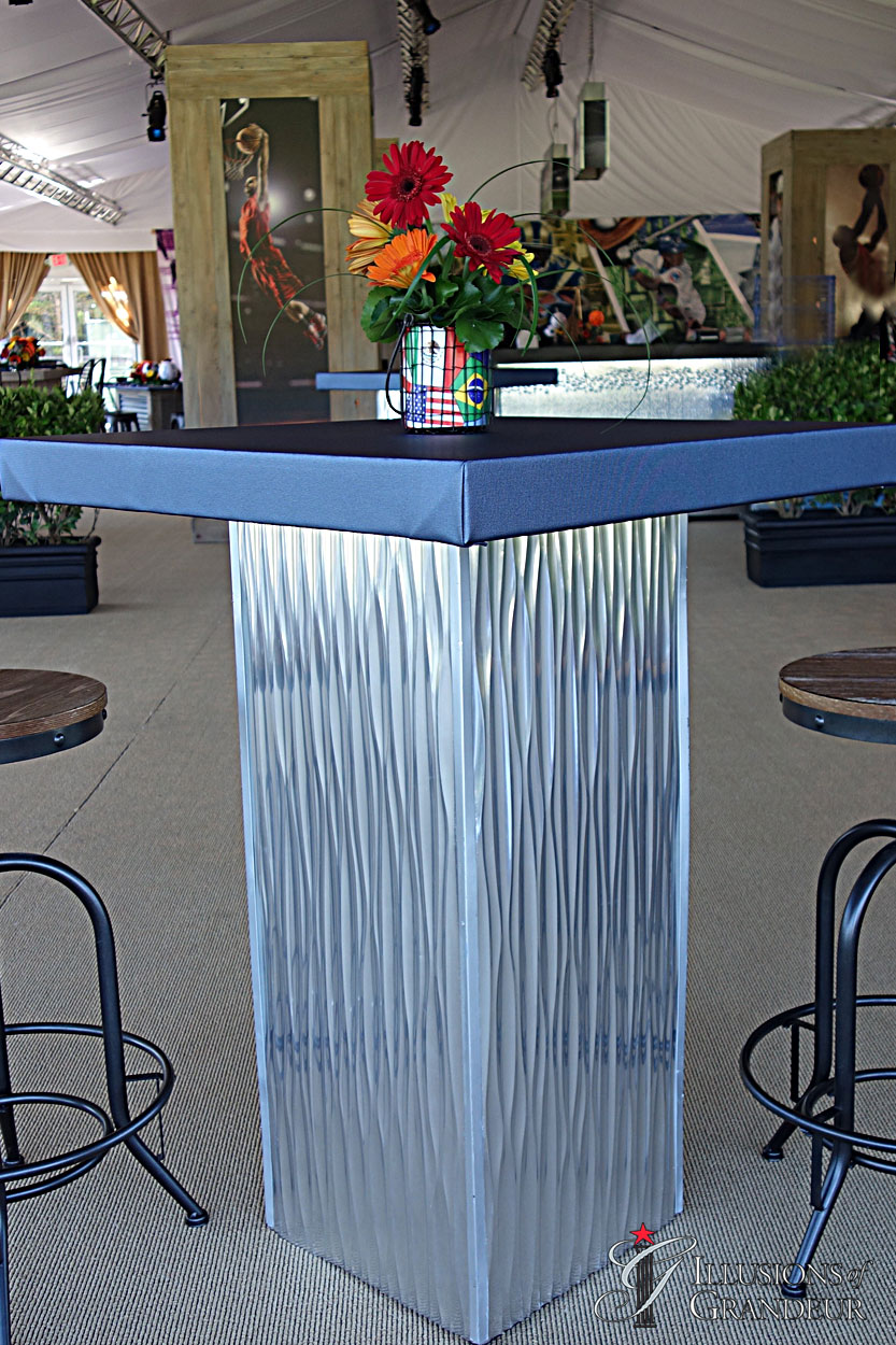 """Silver Metal Cocktail Tables 3""""x32""""x42""""h"""