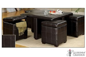 "Leather Coffee Table 34W x 34D x 20H Leather Cubes 15""W x 15D"" x 17.25""H"