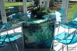 "Abstract blue green 60"" Glass Top x 30""h"