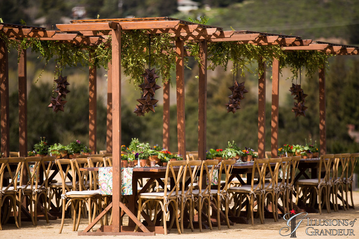 "Redwood Tables with Trellises 5""x8""x8""h"