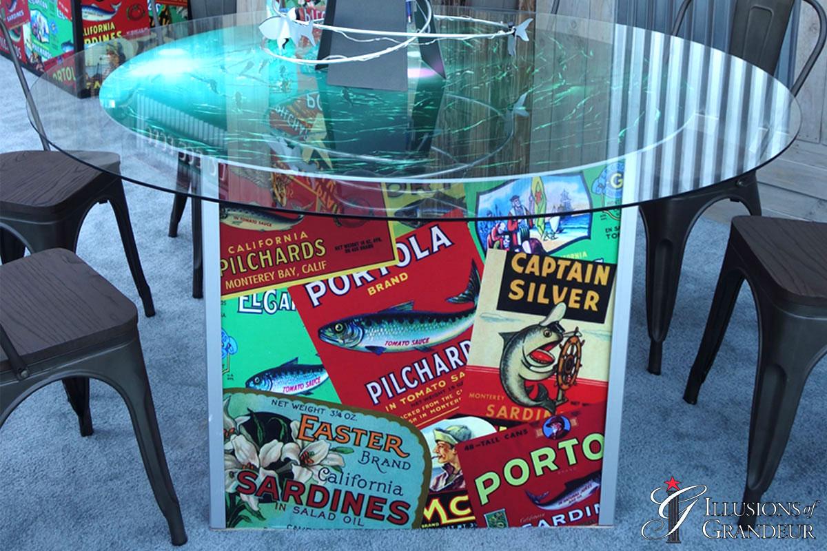 "Sardine label Tables 60"" round Glass x30""h"