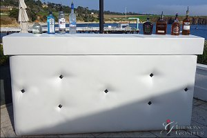 "White Leather Bar 24""x94""x46""h"