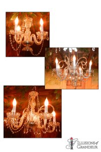 "Set of faux Crystal Chandeliers 14"",16"",24"""